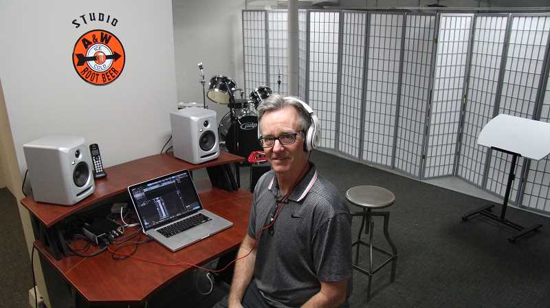PMG PHOTO: SAM STITES - Kavanaugh has named his basement recording studio area A&W studios as an homage to the old A&W Root Beer restaurant that used to be housed where Musician's Club of Oregon now resides.