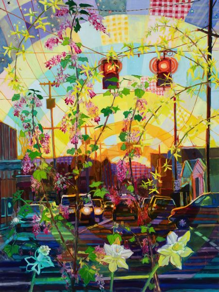 COURTESY: WATERSTONE GALLERY - Shawn Demarest's 'This Place' shows at Waterstone Gallery. It's Portland street scenes (including this one of Division Street) with magical realism.