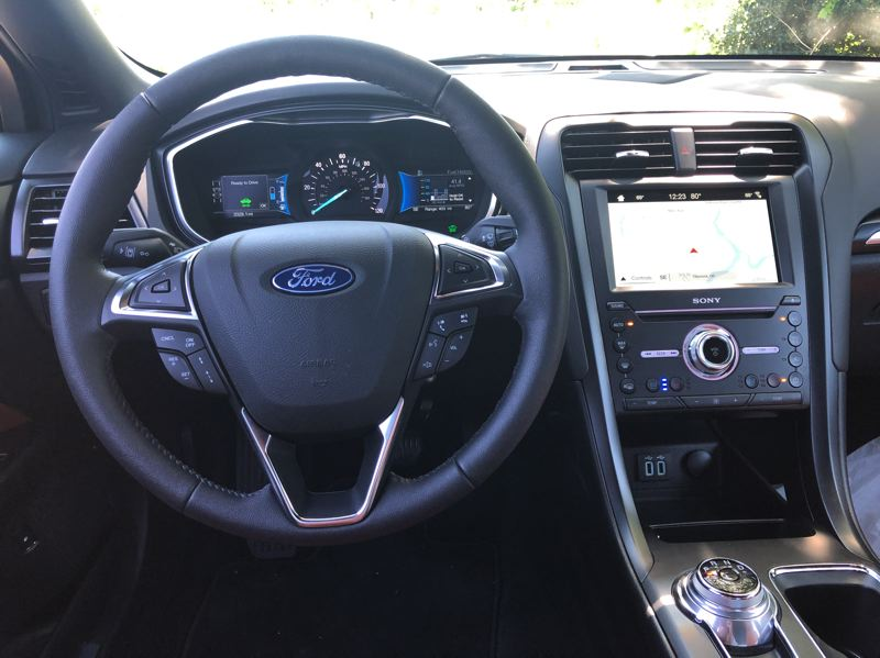 PMG PHOTO: JEFF ZURSCHMEIDE - The Fusion Energi is available only in Ford's top Titanium trim, which includes the most advanced safety and infotainment features.