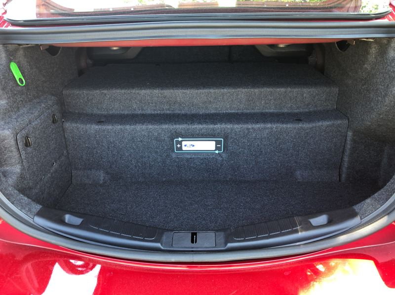 PMG PHOTO: JEFF ZURSCHMEIDE - The only drawback with the 2019 Ford Fusion Energi is the space taken up in the trunk by the battery pack — but the tradeoff is 25 miles in electricity alone and 42 MPG in hybrid mode.