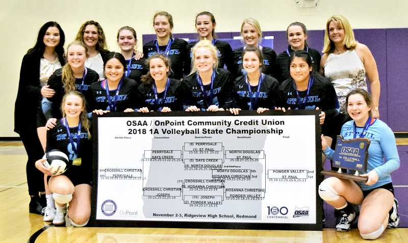 SUBMITTED PHOTO - Many of the players on the SPHS volleyball team that won the state 1A championship were among those who secured a state title in the 1A basketball championship as well.