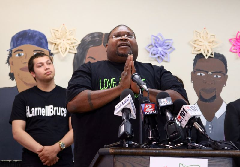 PMG PHOTO: ZANE SPARLING - Larnell Bruce, father of Larnell Bruce Jr., addresses lawmakers at a Unite Oregon press conference in Portland on Wednesday, June 5.