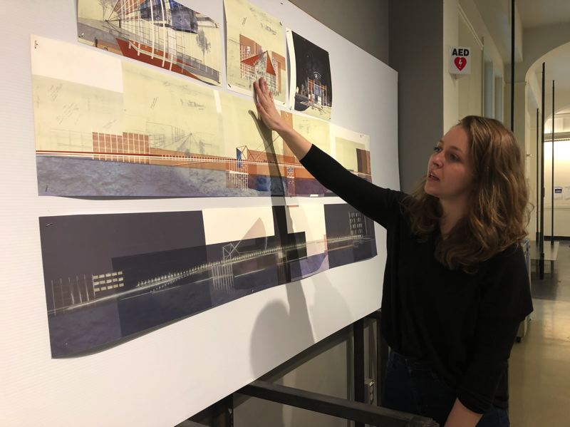 PMG PHOTO: STEPHANIE BASALYGA - Molly Esteve, a second-year graduate architecture student, explains her vision for how an upgraded Burnside Bridge might function after a Cascadian level seismic event.
