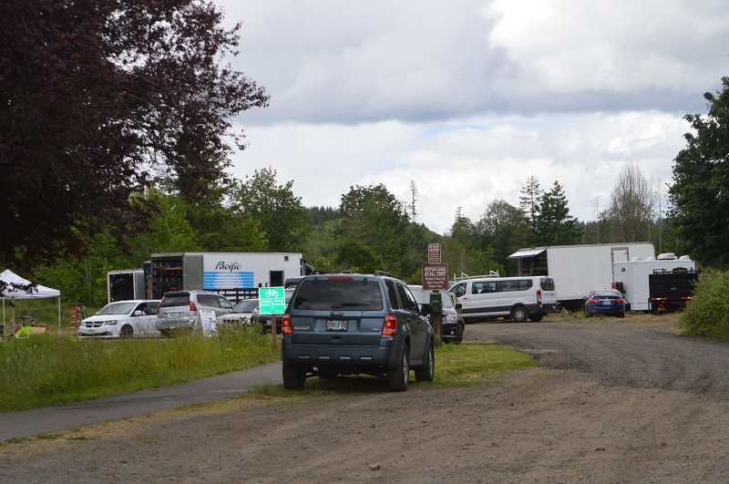 COURTESY PHOTO: TRACY EASLON - Film crews are set up at Vernonia Lake for 'The Water Man.'