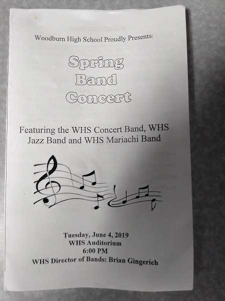 PMG PHOTO: JUSTIN MUCH - Program from the Woodburn High School 2019 Spring Band Concert depicts several distinct bands: concert, jazz and mariachi.