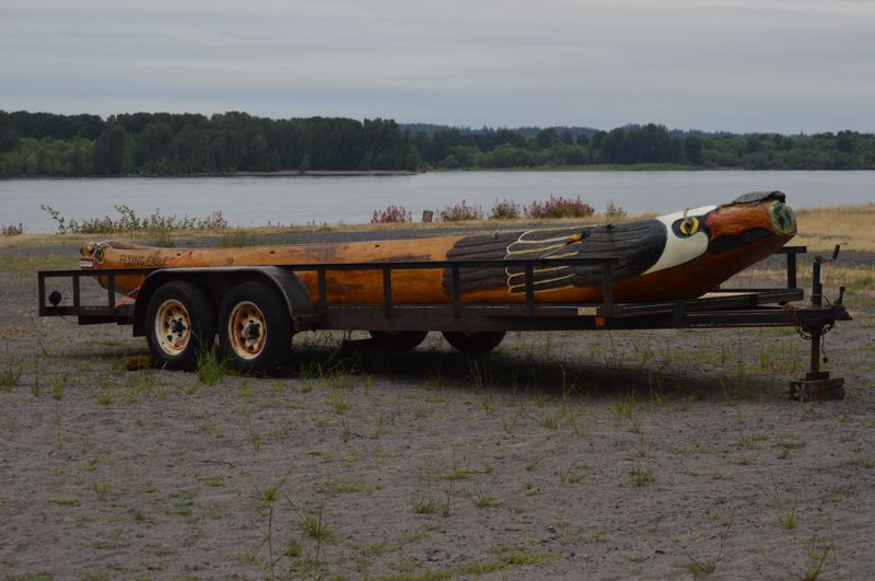 PMG PHOTO: NICOLE THILL-PACHECO - The St. Helens Flying Eagle, a 24-foot hand-carved wooden canoe, will be on display on the St. Helens waterfront near Columbia View Park from June 6 to June 13.