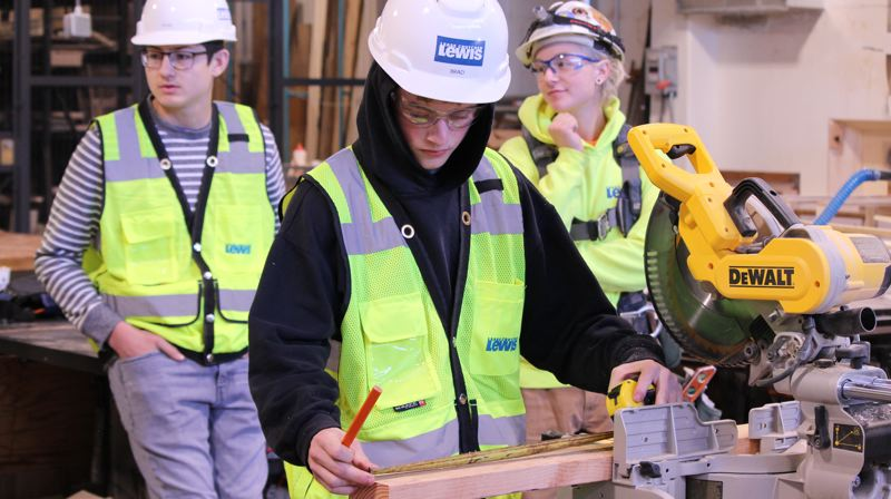 COURTESY PHOTO: GRESHAM-BARLOW SCHOOL DISTRICT - Construction company Lease Crutcher Lewis is working with Barlow High School students on hands-on construction projects as part of the budding Career Pathways program at Gresham-Barlow.