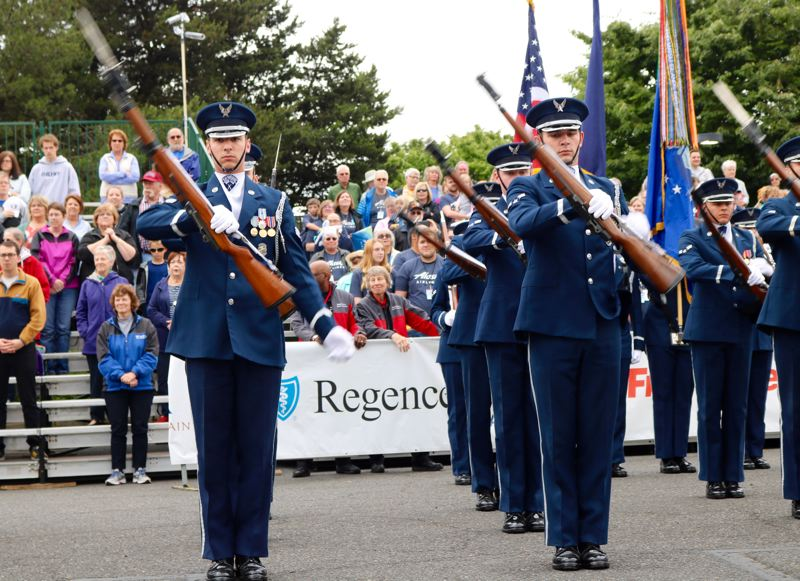 PMG PHOTO: ZANE SPARLING - A U.S. Air Force honor guard from Washington, D.C. was featured at the beginning of the 2019 Grand Floral Parade in Portland.