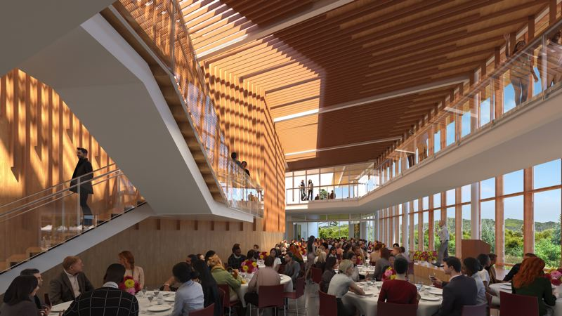 COURTESY: OPSIS ARCHITECTURE - A rendering of Beaverton's coming Patricia Reser Center for the Arts. The lobby is supposed to feel like being inside a beaver dam.