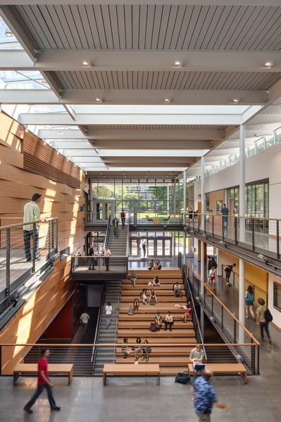 COURTESY: OPSIS ARCHITECTURE - Opsis Architecture designed the Reed College Performing Arts Center. The atrium doubles as a hangour space for students and theater goers.