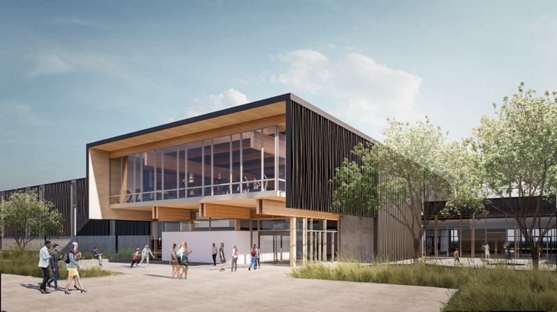 COURTESY: OPSIS ARCHITECTURE - A rendering of the future Hillsboro Community Center, made of mass timber.