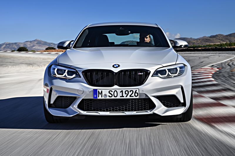 COURTESY BMW GROUP - The 2019 BMW M2 Competition Coupe on the track as it is meant to be driven. There is nothing subtle about it.