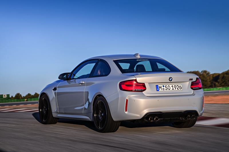 COURTESY BMW GROUP - The rear of the 2019 BMW M2 Competition Coupe is accented by dual exhaust tips and an integrated spoiler.