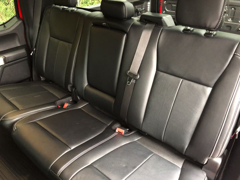 PMG PHOTO: JEFF ZURSCHMEIDE - The back seats in the SuperCrew version of the 2019 Ford F-150 have plenty of room for three adults.