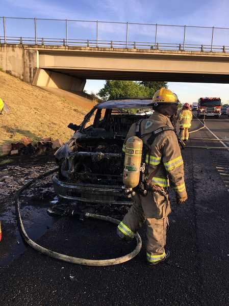 COURTESY OF MARION COUNTY FIRE DISTRICT NO. 1 - Marion County Fire District No. 1 and ODOT emergency personnel responded to a fire on I-5 near exit 263 Sunday.