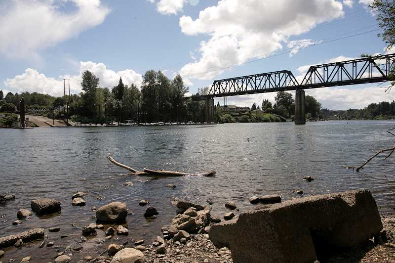 PMG PHOTO: JAIME VALDEZ - The French Prairie Bridge would be located near Boones Ferry Park and Boones Ferry Marina on opposite sides of the Willamette River.