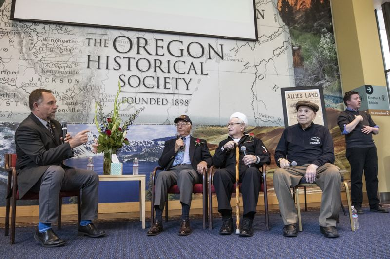 PMG PHOTO: JONATHAN HOUSE - Abe Laurenzo, Ben Asquith, and Jerry Nudleman talk with the event moderator about their WWII experiences during the Celebration of Heroes event.