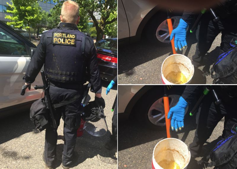 VIA MCDA - The Multnomah County District Attorney's Office submitted these photos as evidence during a trial regarding two men who dumped gliterry horse lubricant on Portland police officers.