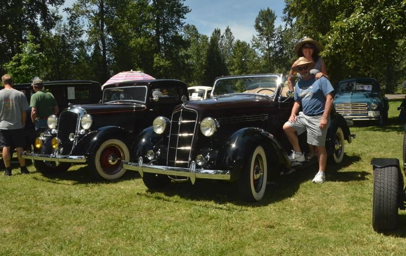 COUTESY PHOTO - Mike and Donna Bade, Cascade Pacific Plymouth Club members, own a 1933 Plymouth coupe and a 1935 Plymouth convertible.