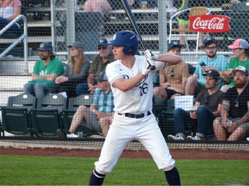 PMG PHOTO: KYLE GARCIA - John Arndorfer, an outfielder from Notre Dame by way of Jesuit High, has been a regular for the Portland Pickles early in their West Coast League season.