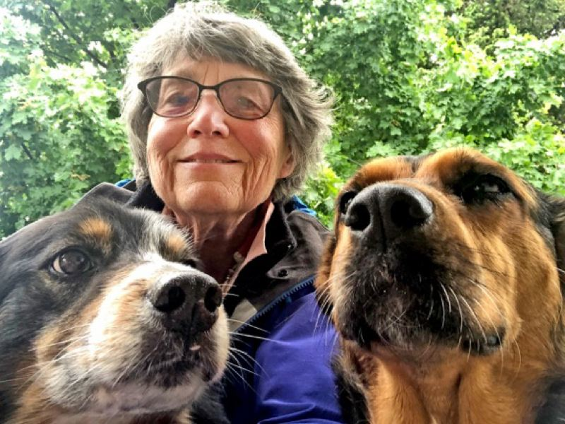 COURTESY: ELLEN MORRIS BISHOP - Ellen Morris Bishop looks for fun hikes with her dogs, which include Diesel (left) and Sophie. Her book 'Best Hikes with Dogs, Oregon' includes spots in the Portland area.