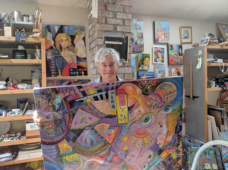 PMG PHOTO: EMILY LINDSTRAND - Many of Oscar Flores' colorful paintings will be featured in  Paint and Clay at the Spiral Gallery, a show that will include art by Flores and his wife Lynn.