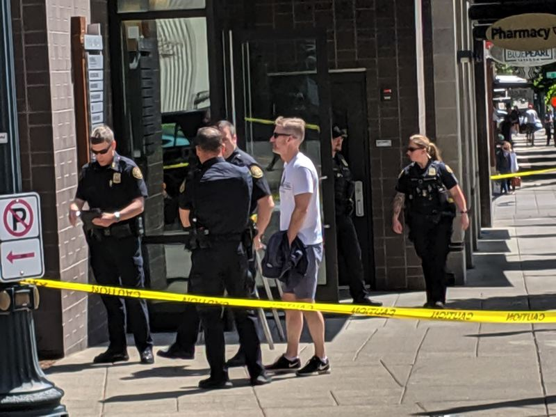 PMG PHOTO: JOSEPH GALLIVAN - Portland Mayor Ted Wheeler visited the site of a fatal police shooting in the Pearl District on Sunday, June 9.