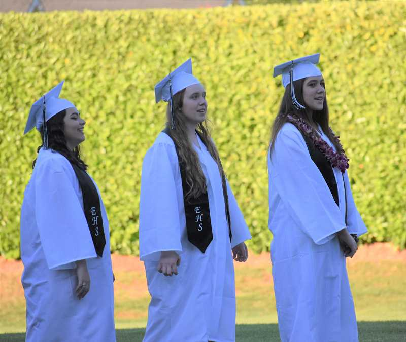 PMG PHOTO: EMILY LINDSTRAND -  Students wait to receive their diplomas during the Estacada High School graduation ceremony on Saturday, June 8.