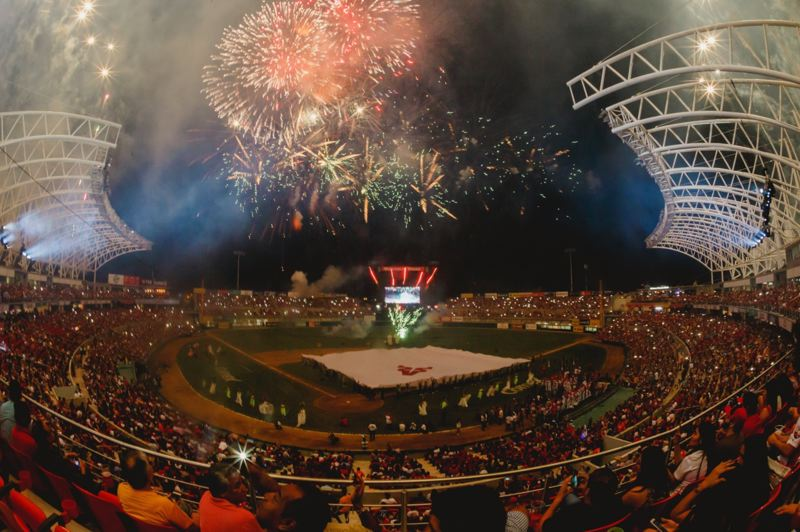 COURTESY PHOTO: MAZATLAN VENADOS - Fireworks go off at a Mazatlan Venados baseball game at Estadio Teodoro Mariscal, the team's 16,000-seat ballpark. The Portland Pickles hope to send an all-star team to play the Mexican Pacific League Venados there this fall, after the West Coast League season. On Saturday night at Walker Stadium, the Pickles will wear Venados uniforms as they play host to the Bend Elks at 7 p.m.