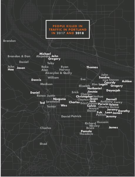 PORTLAND BUREAU OF TRANSPORTATION - A map of traffic fatalities in Portland in 2017 and 2018.