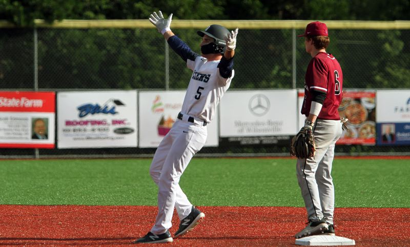 PMG PHOTO: MILES VANCE - Lake Oswego senior Matt Sebolsky hopes to have one more chance to celebrate when he and Laker teammate Gabe DeVille play in the June 22-23 Freightliner Oregon All-Star Series at Goss Stadium in Corvallis.