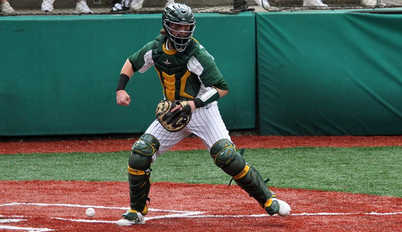 PMG PHOTO: MILES VANCE - West Linn senior catcher J.J. Hoover gets one more chance to shine as a high school baseball player when he and teammate Jonathan Kelly get to play in the Oregon All-Star Series at Goss Stadium in Corvallis on Saturday and Sunday.
