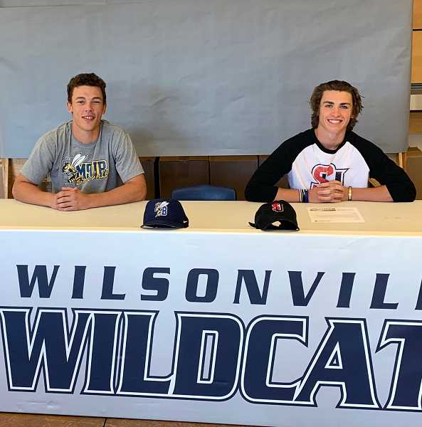 COURTESY PHOTO: BRYN CARD - Nolan Thebiay (left) and Trevor Antonson (right) after signing their letters of intent.