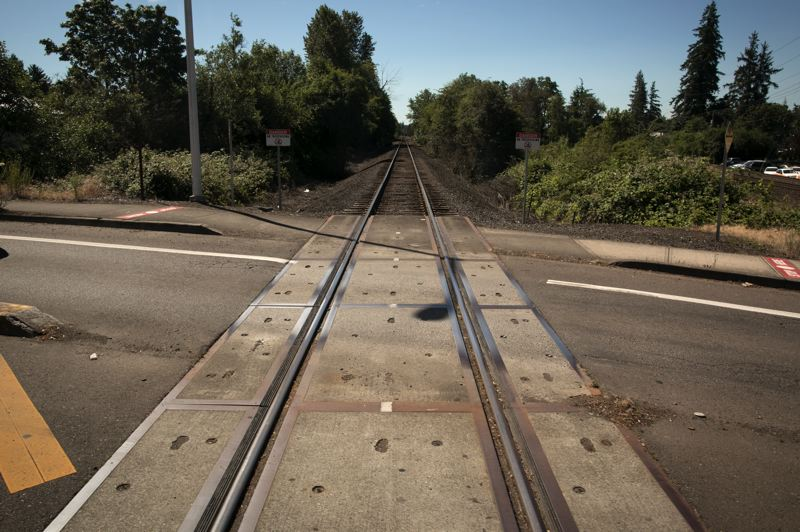 PMG PHOTO: JAIME VALDEZ - The existing Union Paciic rail line in Tigard that the MAX line is proposed to run next to.