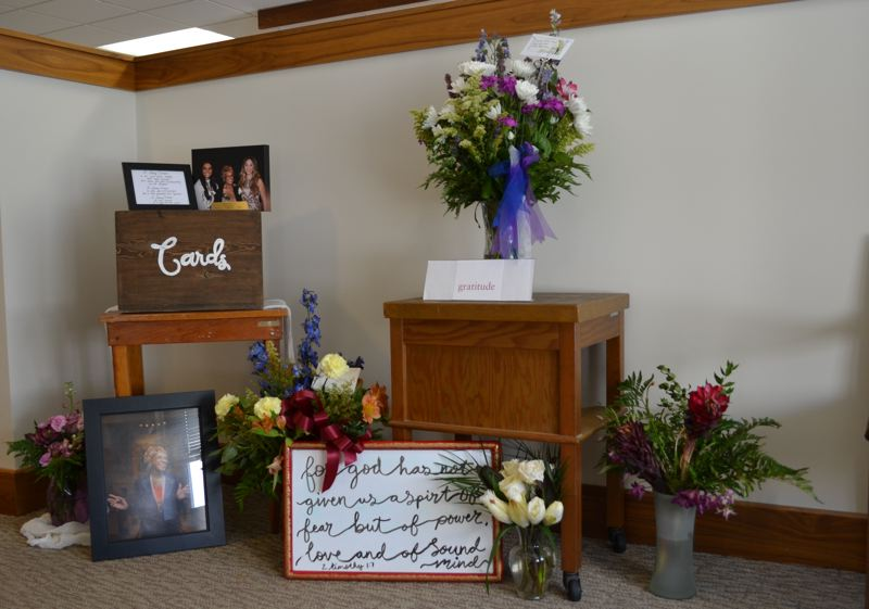 CLAIRE WITHYCOMBE / OREGON CAPITAL BUREAU - Flowers and photographs outside of late Sen. Jackie Winters' office on Wednesday, June 12. Winters died May 29 and her memorial service will be held at the state capitol Thursday, June 13.