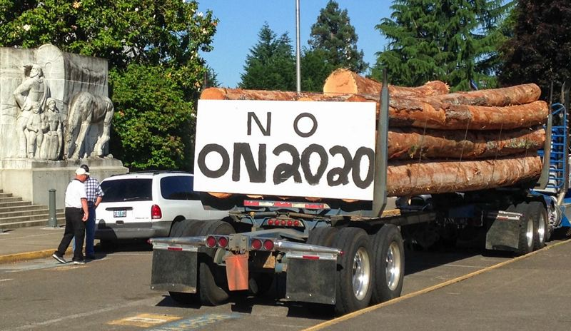 CLAIRE WITHYCOMBE/OREGON CAPITAL BUREAU - Log truck drivers rallied at the Capitol on Wednesday, June 12, to protest House Bill 2020, which will implement a cap and trade program. Despite their presence, the bill passed out of its final committee 13-8. It will get a vote in the House June 17.