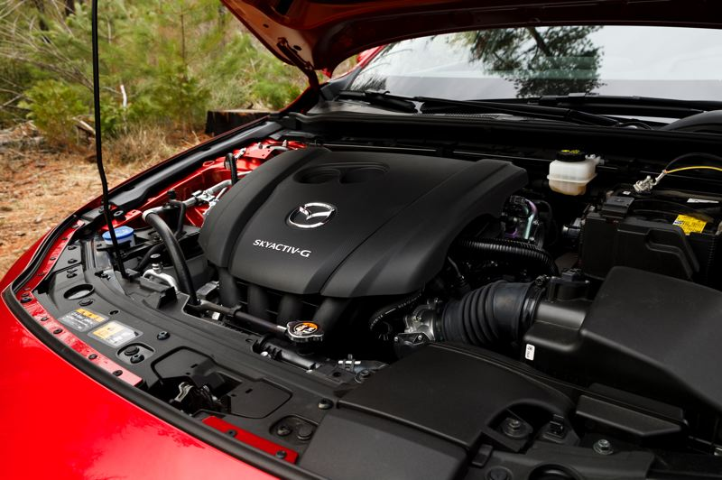 COURTESY MAZDA - The SkyActiv 2.5-liter engine in the redesigned 2019 Mazda3 offers a good balance of power and mileage.