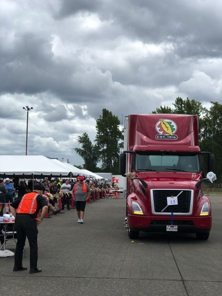 PMG PHOTO: STEPHANIE BASALYGA - More than 120 truck drivers competed in the 2019 OregonTruck Driving Championships, held June 8 at Reddaway in North Portland. In addition to a written test, drivers naviaged around obstacles on an oval course to win the right to attend a national driving competition later this year.
