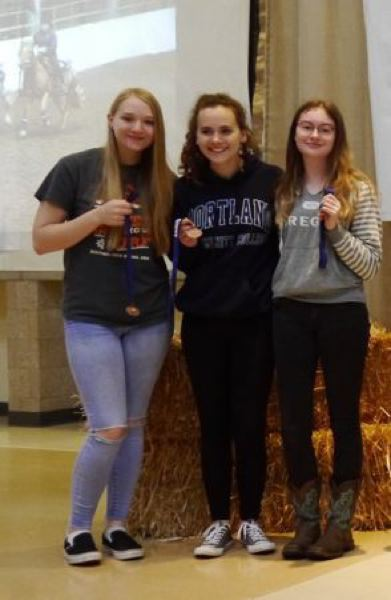 COURTESY PHOTO - Equestrian athletes from Scappoose include (from left) Miranda Heller, Gracie Krauter, Caitlyn Ulvi.
