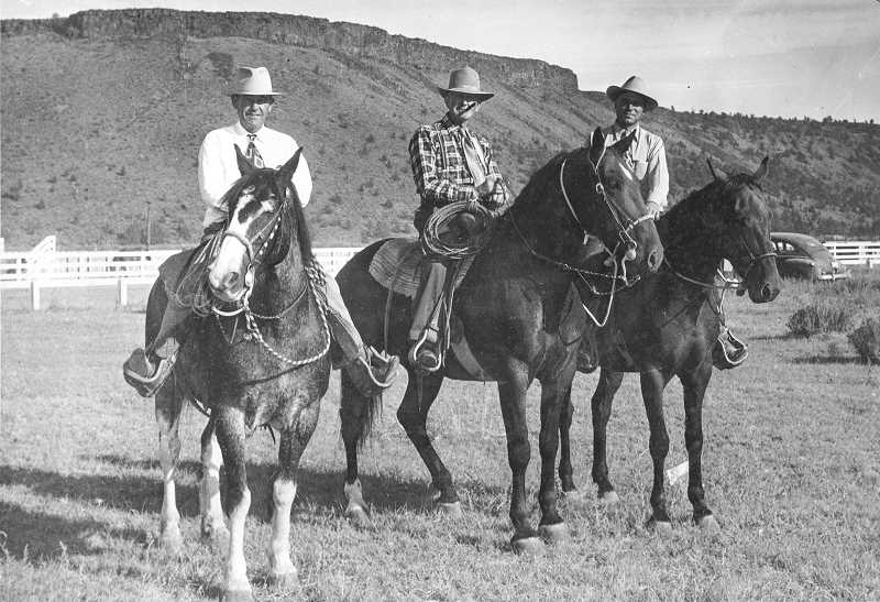 PHOTO SUBMITTED BY CROOKED RRIVER ROUNDUP  - Founding members of the Crooked River Roundup are photographed on horseback. Pictured left to right are Orville Yancey, Jess Cain and Jerry Breese. Many members of their families have helped with the Crooked River Roundup throughout its history.