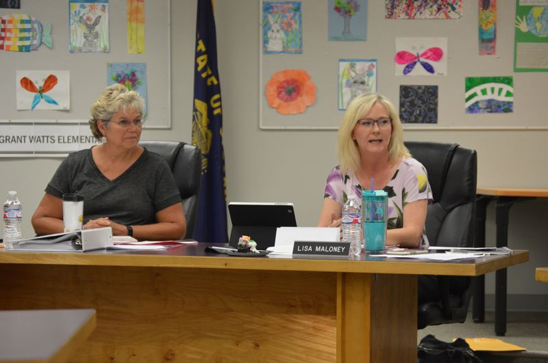 PMG PHOTO: NICOLE THILL-PACHECO - The Scappoose School Board discussed a proposed contract for outgoing interim Superintendent Paul Peterson to act as a temporary consultant to assist in the superintendent transition process. during a board meeting Monday, June 10. It was the first time it had been publically discussed.