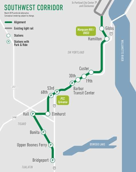COURTESY OF TRIMET - Here's an overview of the planned stations and park and ride facilities.