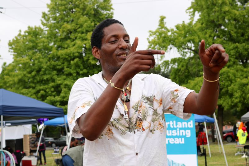 PMG PHOTO: ZANE SPARLING - Ray Colbert couldn't stop dancing at Portland Juneteenth festival on Saturday, June 15.