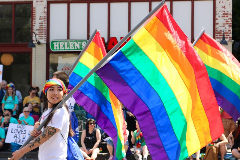 PMG PHOTO: ZANE SPARLING - Love was the color of every hue in the rainbow during the 2019 Portland Pride Parade, part of a two-day festival sponored by Pride Northwest.