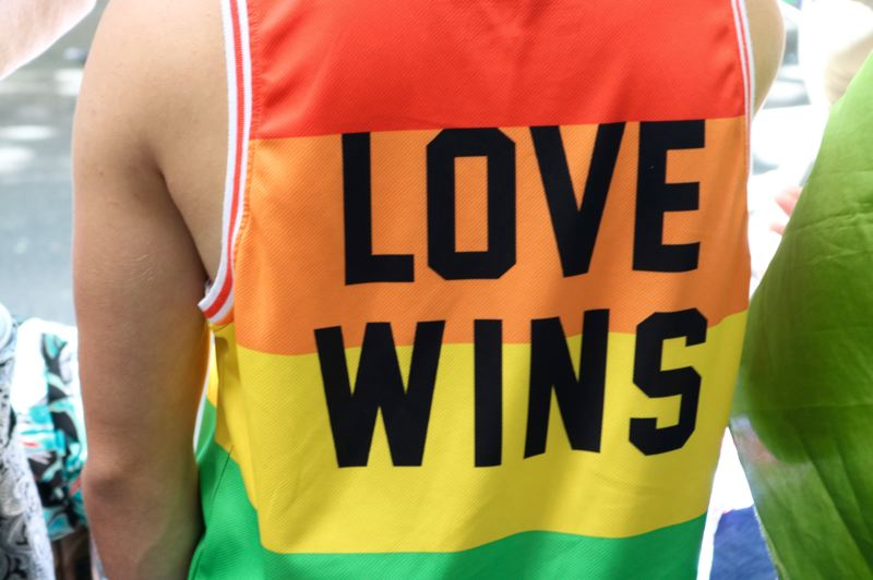 PMG PHOTO: ZANE SPARLING - A person wears a shirt reading 'Love Wins' at the 2019 Portland Pride Parade.