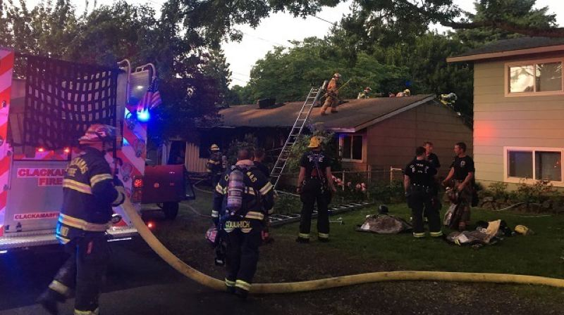 PHOTO COURTESY: CLACKAMAS FIRE - A two-alarm fire broke out on June 13 at the Wilson-Kreuger home in Milwaukie.