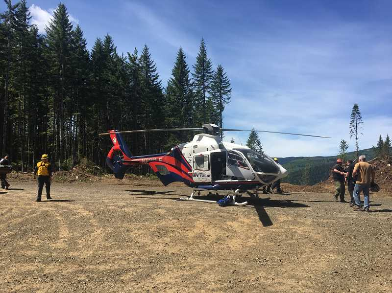 COURTESY PHOTO - A dirtbike rider was flown to a Portland hospital after crashing on a remote trail more than a half-hour outside of Forest Grove on Monday.