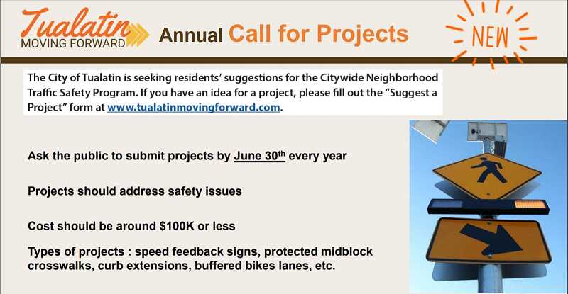 COURTESY CITY OF TUALATIN - If you have a traffic safety project in Tualatin, the city will take a look at your suggestion. Visit tualatinmovingforward.com/suggest-a-project.