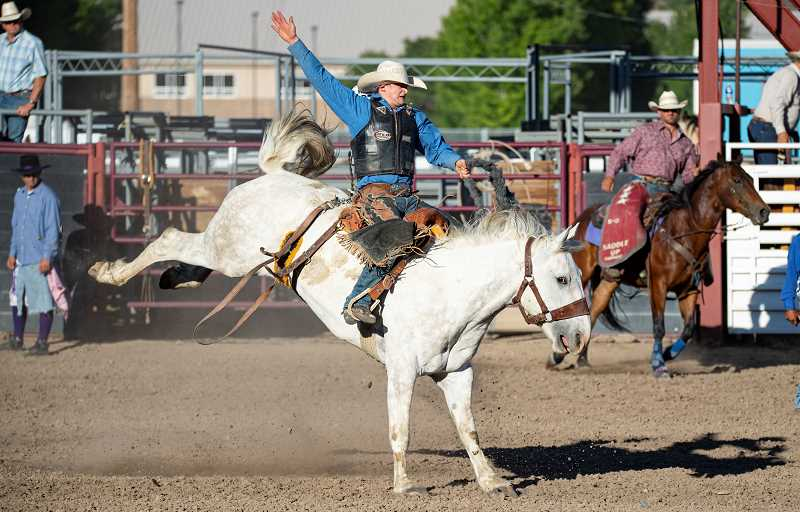 LON AUSTIN/CENTRAL OREGONIAN - Crook County's Matt Shannon won all three go rounds of saddle bronc riding as well as taking first in the final standings. Shannon was one of several Tri-County Rodeo athletes to qualify for the National Finals, which take place July 14-20 in Rock Springs, Wyoming.