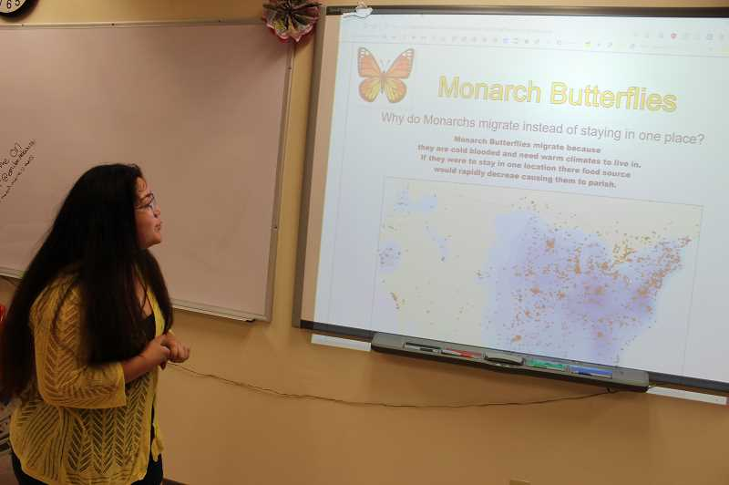 PMG PHOTO: JANAE EASLON - Brisa Flores recently graduated Forest Grove High School and studied monarch butterflies for her geospatial technology project in 'Mapping My World.'